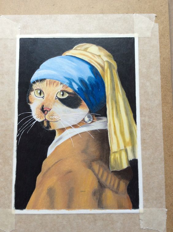 Shanti with a pearl earring after Vermeer