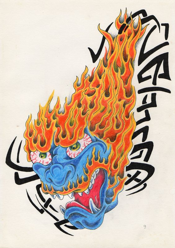 Fire Monster. Derwent Artist's pencils on Bristol paper.