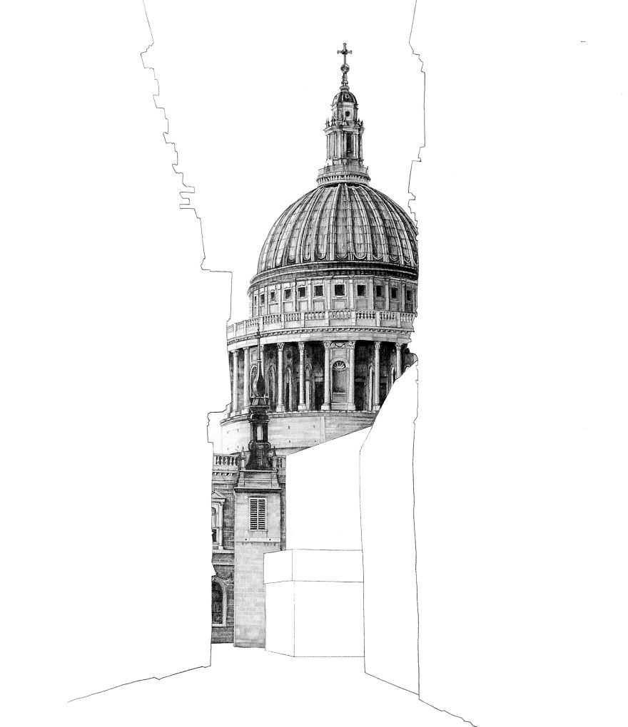 Mind blowing sketches of famous uk buildings pencils for Architecture house drawing