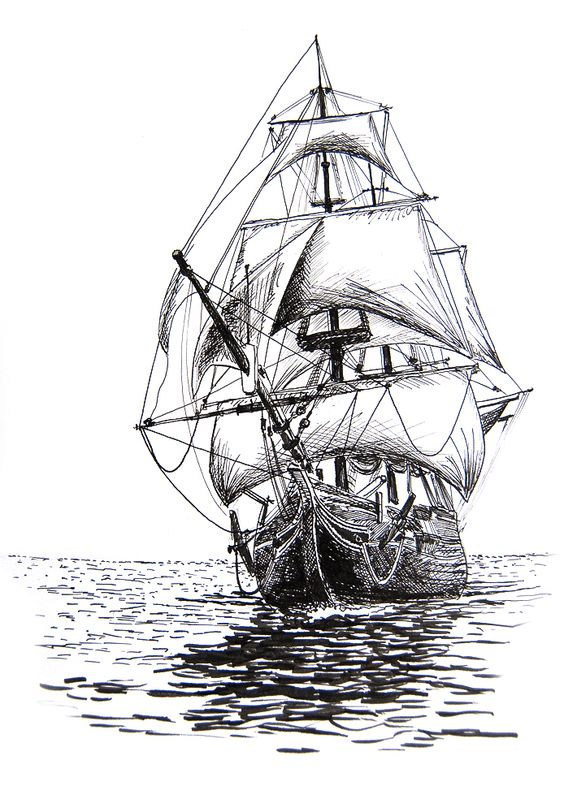 13 pencils sketches of amazing ships
