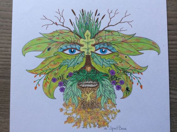 The Green Man. Derwent Artists on sketch paper.