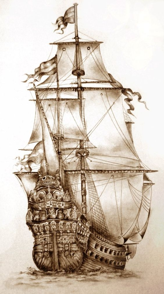 13 Pencils Sketches of Amazing Ships - Pencils Sketches