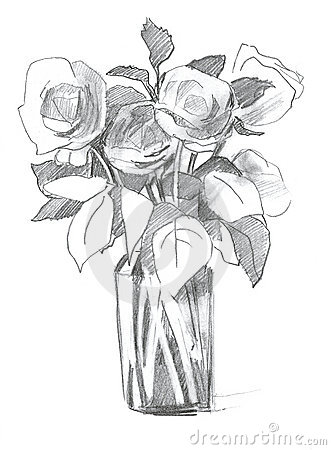 Pencils Sketches Of Flower Vase Pencils Sketches