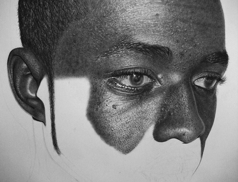 Step by step progressing photo realistic sketch