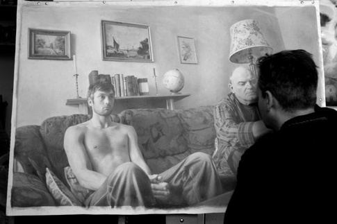 This is an image of Paul Cadden working on one of his pieces